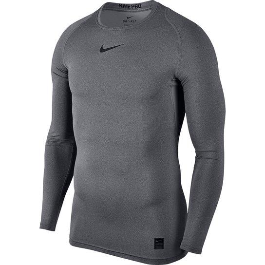 e2a53549a431 Camiseta Compressão Nike Pro Manga Longa Masculina - Cinza e Preto ...