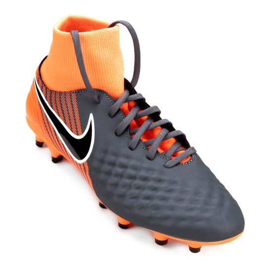 a5911089652ca Chuteira Campo Nike Magista Obra 2 Academy DF FG - Cinza e Preto ...