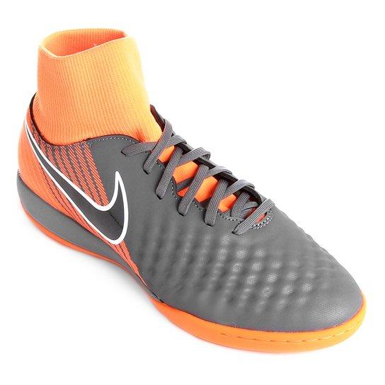e03e9d0b063e5 Chuteira Futsal Nike Magista Obra 2 Academy Dinamic Fit - Cinza e Preto