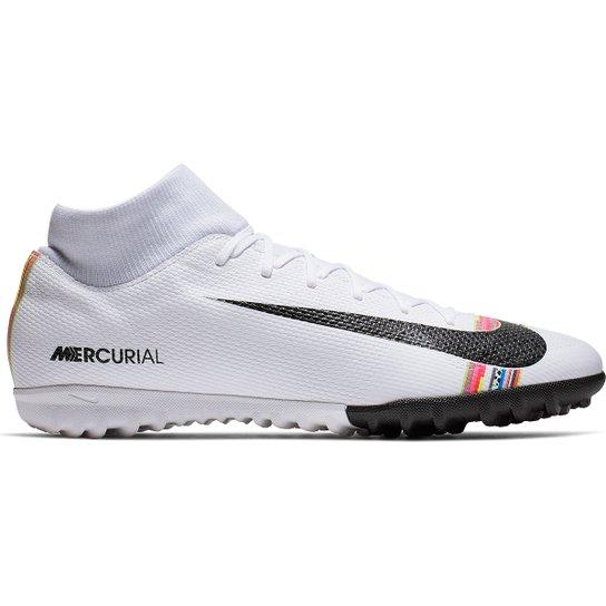 88cddd8b54f7b Chuteira Society Nike Mercurial Superfly 6 Academy CR7 TF - Branco+Preto
