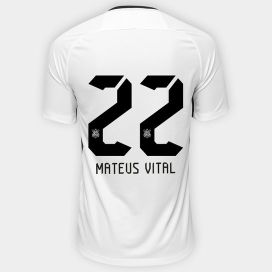 477c4c280b Camisa Corinthians I 17 18 nº 22 Mateus Vital - Torcedor Nike Masculina -  Branco