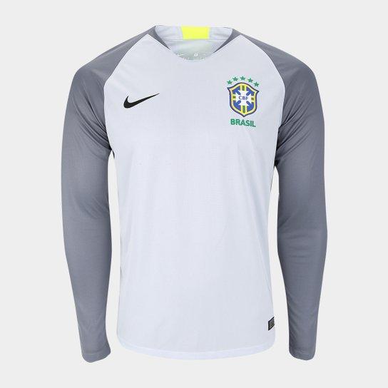 a620d16648 Camisa Seleção Brasil Goleiro 2018 s n° Torcedor Nike Masculina -  Cinza+Preto