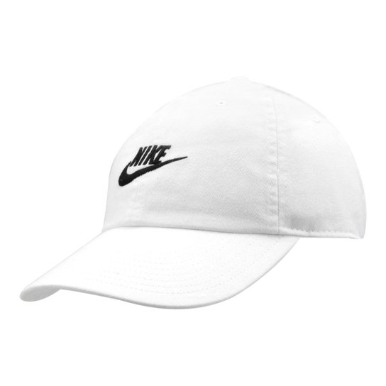 1df28d51fb4d9 Boné Nike Aba Curva U Nsw H86 Futura Washed - Branco e Preto ...