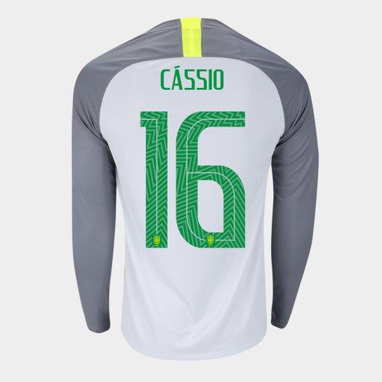 Camisa Seleção Brasil Goleiro 2018 nº 16 Cássio - Torcedor Nike Masculina -  Cinza+Preto 2eafa7c527d2b
