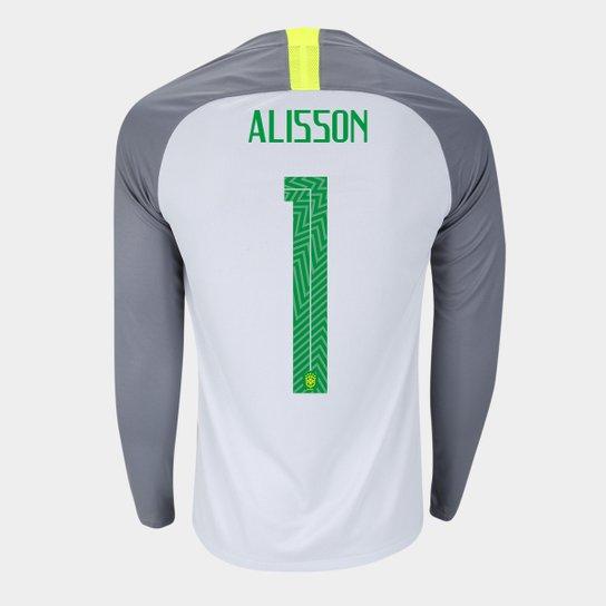 0d1e4df3eb Camisa Seleção Brasil Goleiro 2018 nº 1 Alisson - Torcedor Nike Masculina -  Cinza+Preto