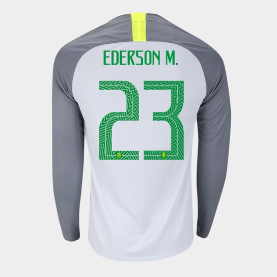 Camisa Seleção Brasil Goleiro 2018 nº 23 Ederson M. - Torcedor Nike  Masculina - Cinza 7ae51a279fd17