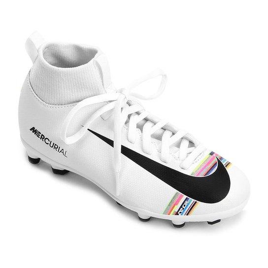 91255366b86c5 Chuteira Campo Infantil Nike Mercurial Superfly 6 Club CR7 FG - Branco+Preto
