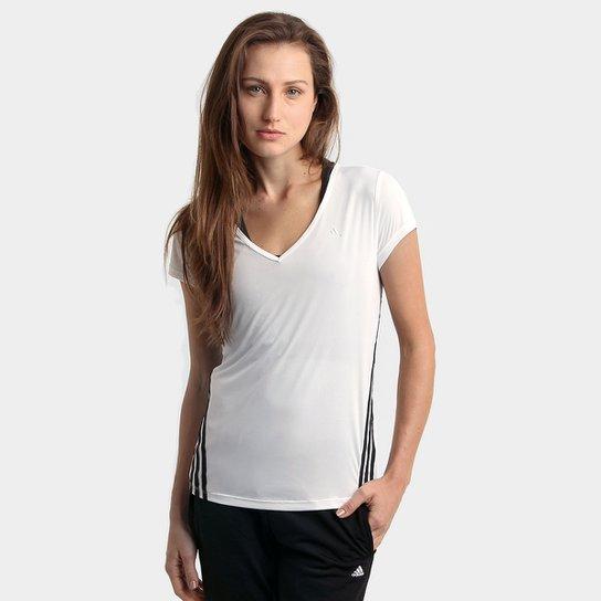 e732ca64dbdf4 Camiseta Adidas ESS Clima 3S LW Feminina - Branco e Preto - Compre ...