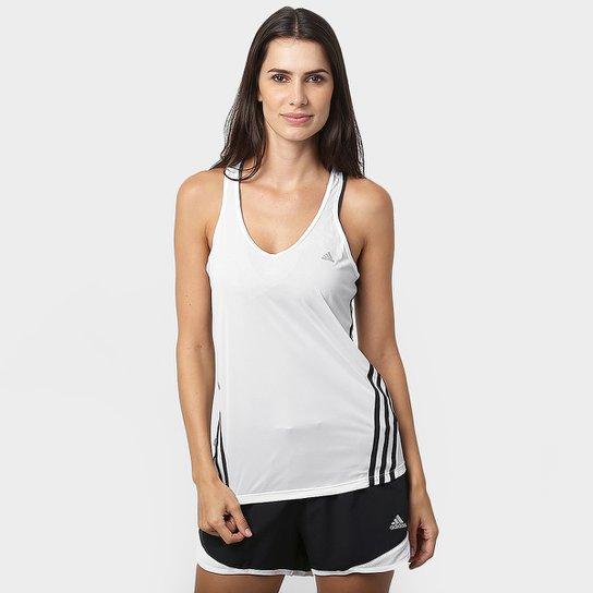 c5b4e77d0135d Regata Adidas Ess Clima 3S LW Feminina - Branco e Preto - Compre ...