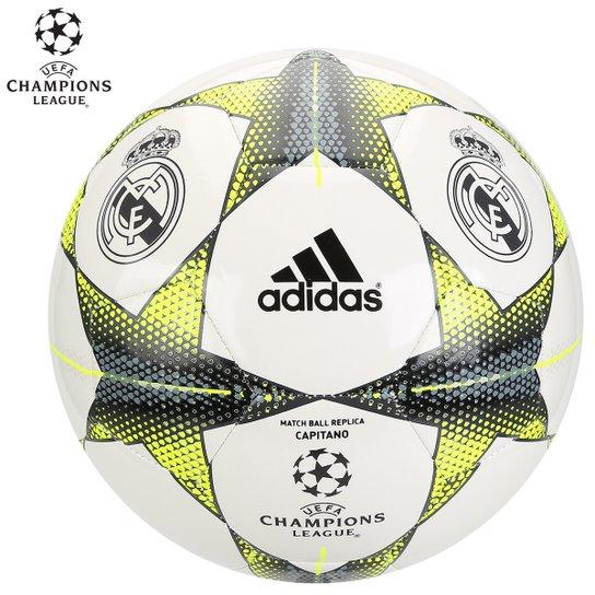Bola Futebol Adidas Real Madrid Finale 15 Campo - Branco+Verde Limão 85b7811f6f38e
