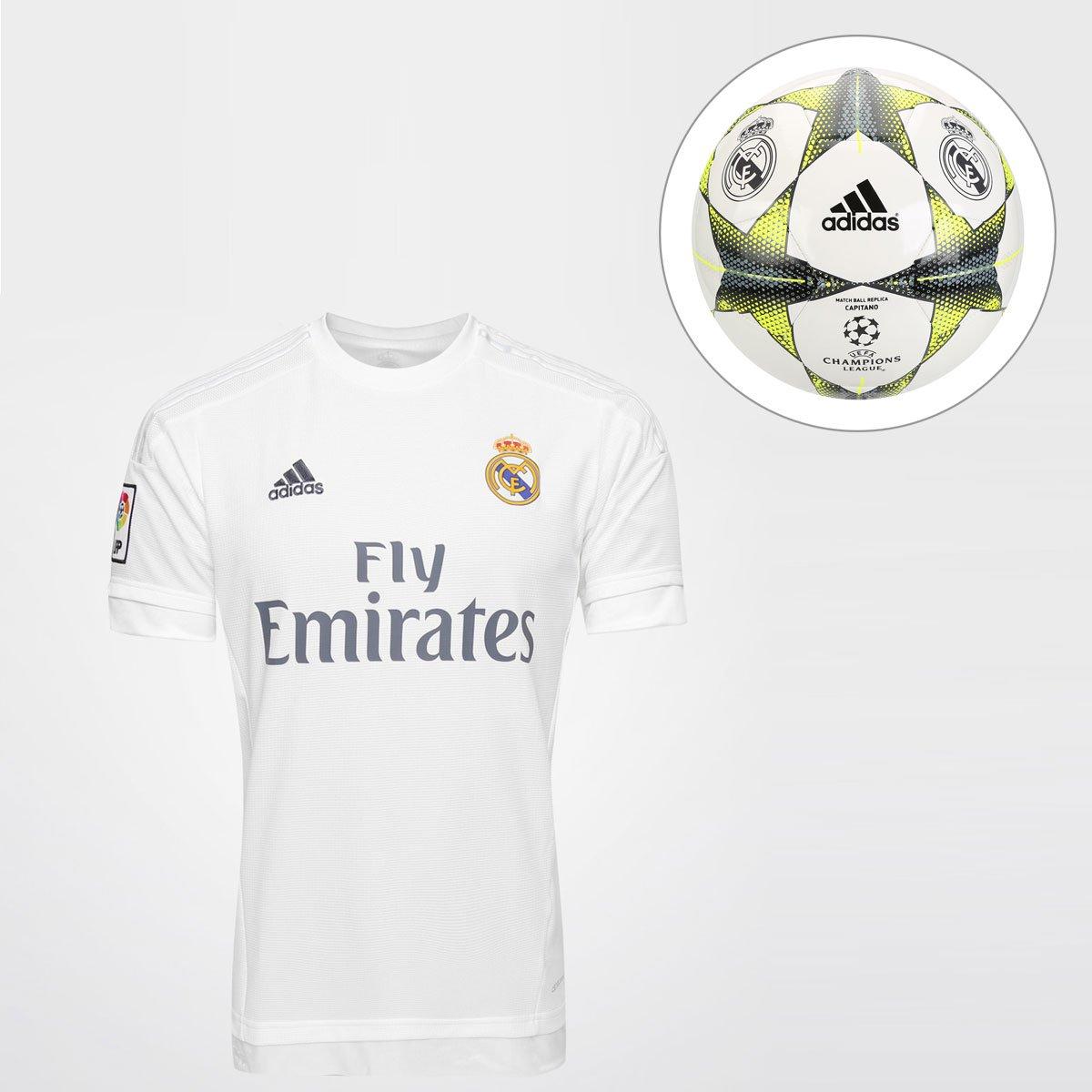 905db60864ad8 Kit Camisa Adidas Real Madrid Home 15 16 s nº + Bola Adidas Real Madr.