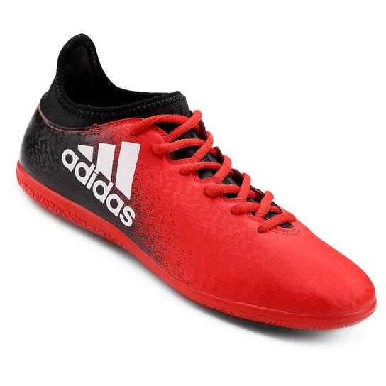 Chuteira Futsal Adidas X 16.3 IN - Preto+Vermelho afa5081e3bb59