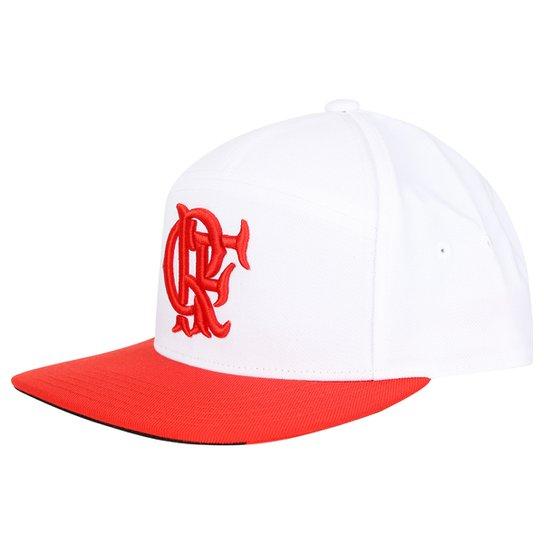 Boné Adidas Flamengo Aba Reta Hino - Branco+Vermelho 21751e94f219c