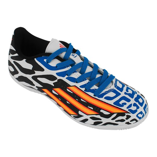 d855bbf5917f6 Tenis Futsal Adidas F5 In Jr Messi Wc - Branco+Preto
