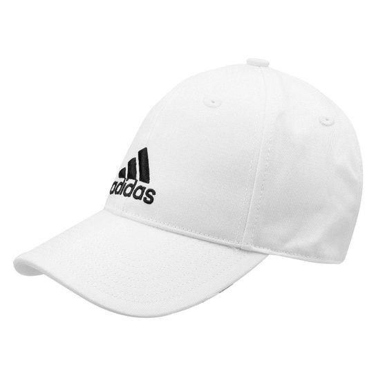 Boné Adidas Aba Curva Essential Cotton Masculino - Branco e Preto ... edbaf72e99a