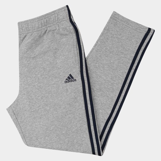 394c9d19b419a Calça Adidas Essential 3S Tapered French Terry Masculina - Cinza+Preto