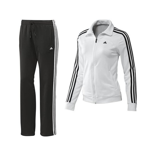 eb5505510dc Agasalho Adidas Ess 3S Knit Wmns - Branco+Preto ...
