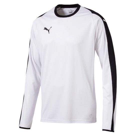 f740d641237e5 Camiseta Puma Liga Jersey Manga Longa Masculina - Branco e Preto ...