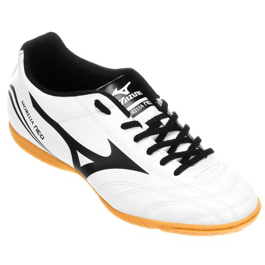 Chuteira Futsal Mizuno Morelia Neo Club IN - Branco e Preto - Compre ... 4e11aa1522729