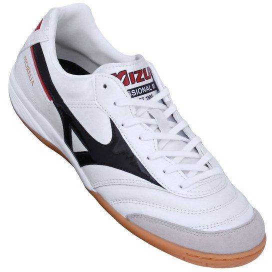 9a598054b6 Tênis Mizuno Futsal Morelia Indoor Elite II - Branco e Preto ...