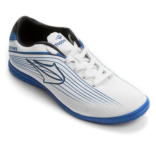 4247740eb2 Chuteira Futsal Topper Strike Masculina - Branco e Azul - Compre ...