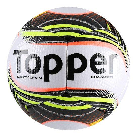 66a7d640b0c56 Bola Futebol Society Topper Champion II - Branco e Preto - Compre ...