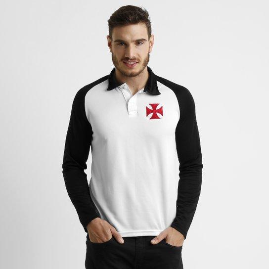 cadc198d19936 Camisa Polo Vasco M/L Raglan - Branco+Preto