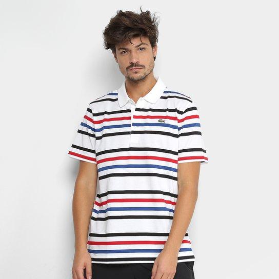2f50cbe6a Camisa Polo Lacoste Manga Curta Masculina - Branco e Preto - Compre ...