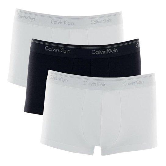 321fd20f8b5579 Kit 3 Cuecas Boxer Calvin Klein Low Rise Trunk Algodão Cotton CK - Branco e  Preto