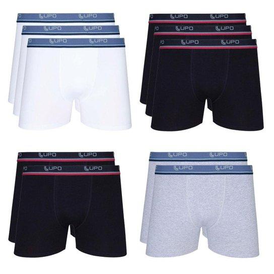 122b76099 Kit cueca Lupo boxer 10 peças - Branco e Preto