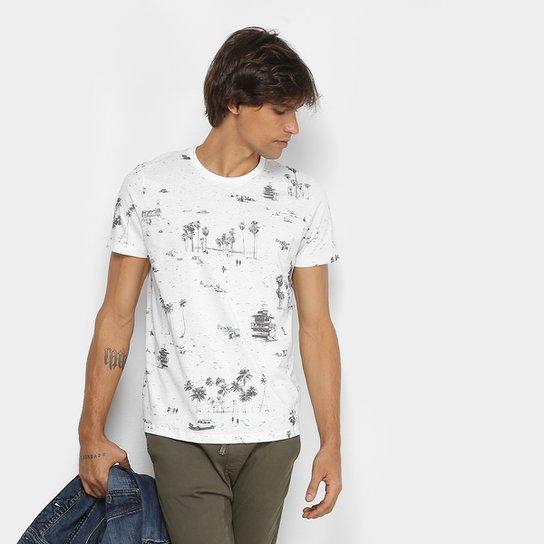 Camiseta Colcci Estampa Tropical Masculina - Branco e Preto - Compre ... b5923e1f4b1