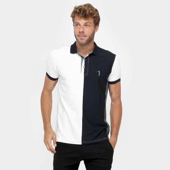 68d2812fc0 Camisa Polo Aleatory Malha Listra Vertical - Branco+Preto