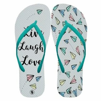 Chinelo Live Laugh Love Feminino