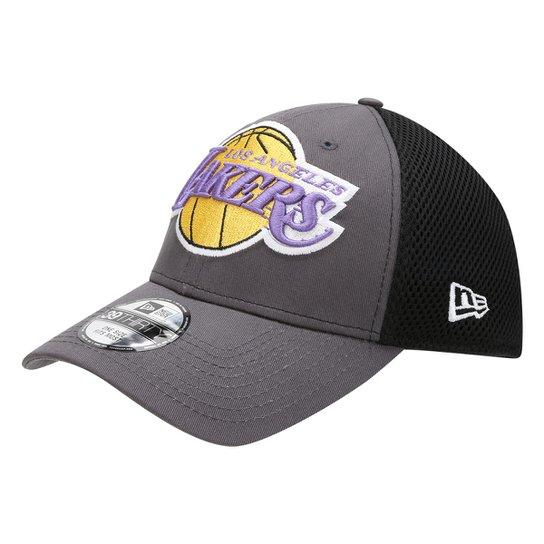 Boné New Era NBA Los Angeles Lakers Aba Curva 3930 Neo - Cinza+Preto 893953c5ead