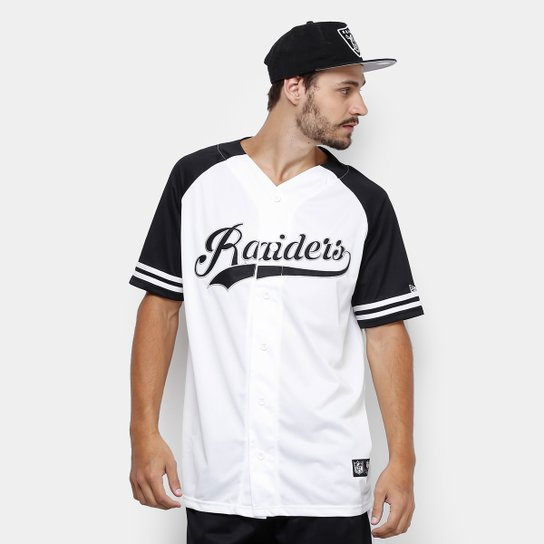 Camisa NFL Oakland Raiders New Era Letter Masculina - Branco e Preto ... 8214285a8d0