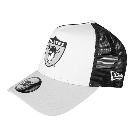 9e5fe1d24be16 Boné New Era NFL Oakland Raiders Aba Curva 940 Af Sn Lic2042 Fa - Branco+