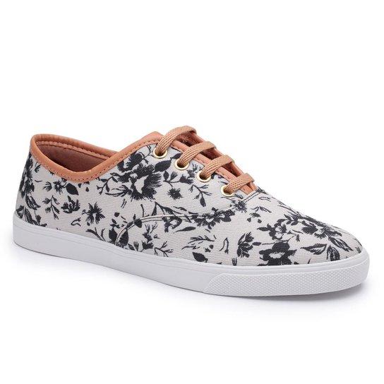 Tênis Feminino Tenehi Floral - Branco e Preto - Compre Agora  7eeb7d7b75c9f
