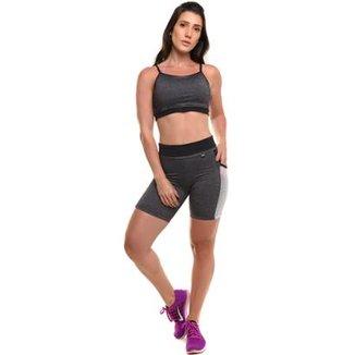 17390586e Conjunto Performance Cross Bermuda Top Com Proteção Solar Sandy Fitness -  Feminino