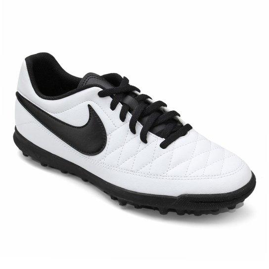 50b1d9c6de ... 8ec784223cf Chuteira Society Nike Majestry TF Masculina - Branco e  Preto .