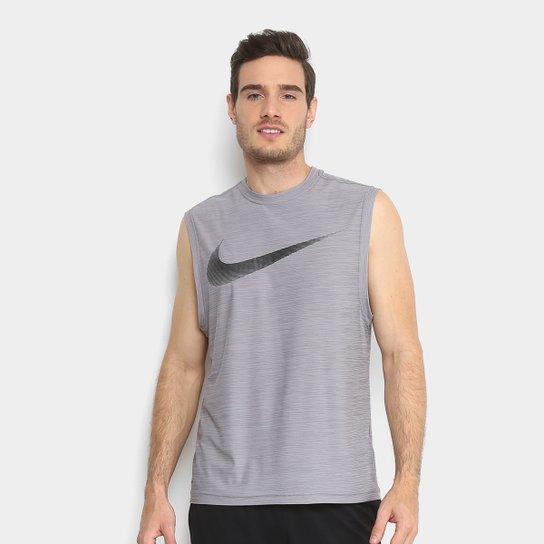 c17758c53a Regata Nike Breath Muscle Dry Masculina - Cinza e Preto - Compre ...