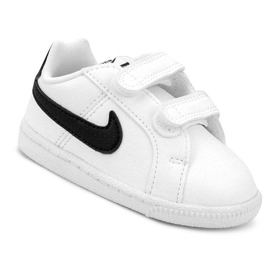 Tênis Infantil Couro Nike Court Royale Sl Masculino - Branco e Preto ... 15e0df1e00477