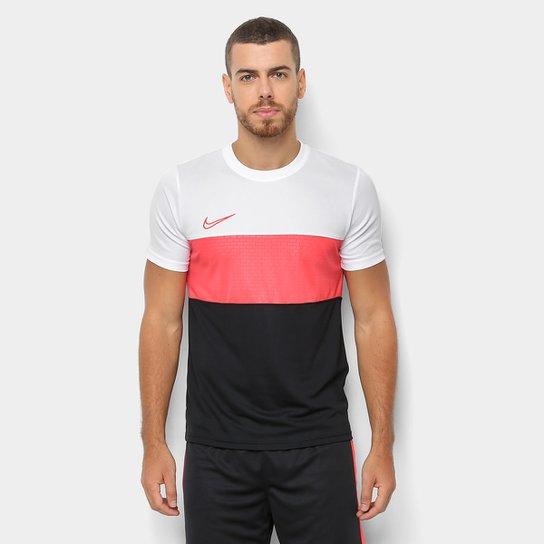 Camisa Nike Academy Top SS GX Masculina - Branco e Preto - Compre ... d81dcf430a6f0
