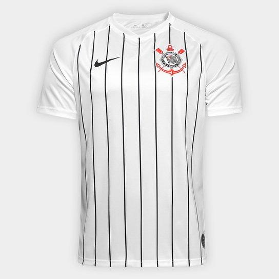 4f14289b9b Camisa Corinthians I 19/20 s/nº Estádio Nike Masculina - Branco+Preto