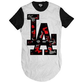 37175b44d3aa3 Camiseta Skull Clothing Longline Los Angeles Camuflado Masculina