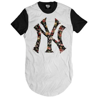 Camiseta Skull Clothing Longline NY Floral Masculina 06a2ba280b0