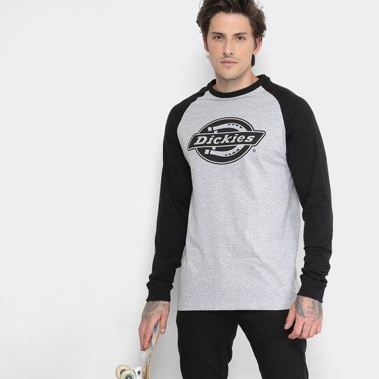 Camiseta Dickies Raglan Manga Longa Masculina - Cinza e Preto ... c2d31a23e4d0e