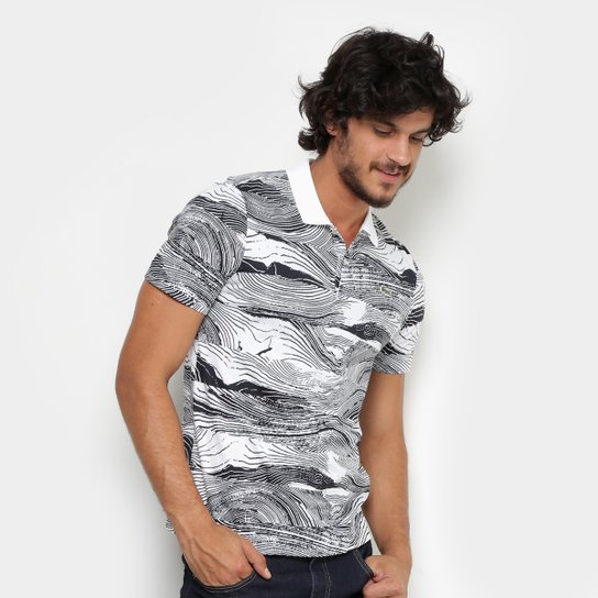 c29d5d125e8 Camisa Polo Lacoste Live Jersey Full Print Regular Fit Masculina -  Branco+Preto
