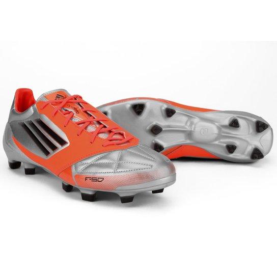 ... Chuteira Adidas F50 Adizero TRX FG Leather - Prata+Laranja first look  e504c 5e2b5 ... c1cfc9768b617