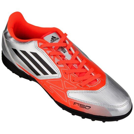 b2d87542cb Chuteira Adidas F5 TRX TF - Laranja+Prata