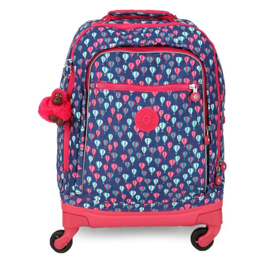 a5b029606 Mochila de Rodinhas Kipling Echo Estampada Feminina - Azul+Pink